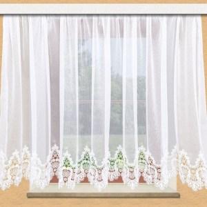 Edler Spitzen-Store Safira weiß mit  aufwändig eingearbeiteter 19cm breiter Spitzenkante