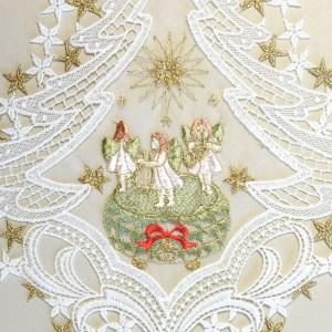 """Fensterbild """"Spieldose"""" grün Advent Weihnacht Echte Plauener Spitze inkl. Saughaken"""