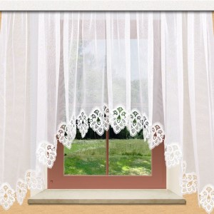 Hübscher Blumenfenster-Store Jette weiß mit 12 cm breitem Spitzenabschluss aus Echter Plauener Spitze
