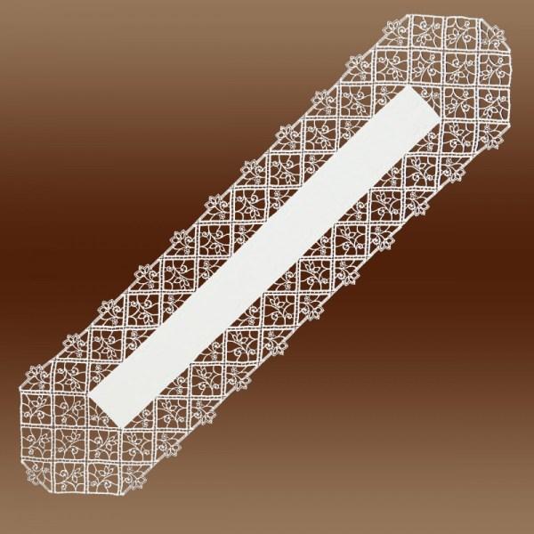 Läufer Sissi Luftspitzen-Rahmendecke Plauener Spitze natur Tischband