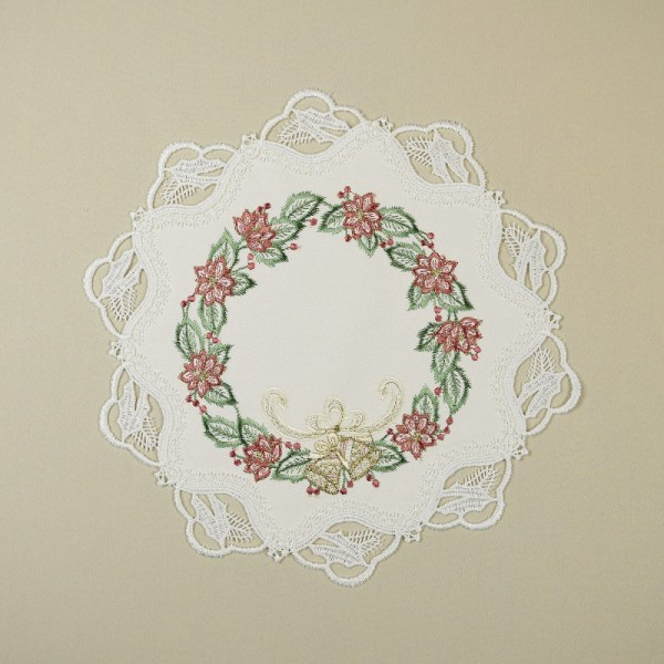 Weihnachts-Deckchen Glöckchenband Plauener Spitze natur Tischdeko SONDERPREIS