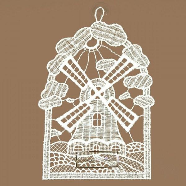 Windmühle Klassisches Fensterbild aus Echter Plauener Spitze weiß
