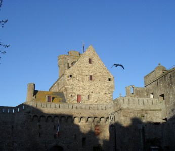 Blue skies, and a wonderful view from our hotel in St Malo. Snapped by me in 2012