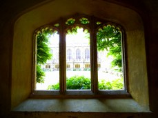 Through a window at Magdalen College Oxford.