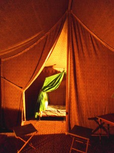 """This tent and camp bed are to be found in Fontainebleau. I took this photo in the dim light and was pleased to see how well Napoleon's """"glamping"""" experience came up."""