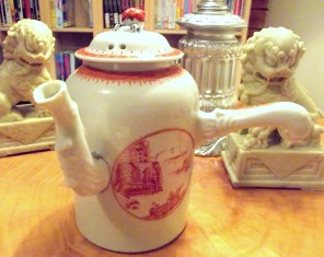 This is a late 18th Century chocolate pot with an iron-red scene of great intrigue. Can you solve the mystery?