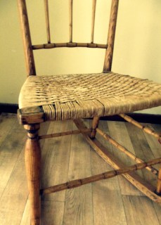 This little 19th Century rocking chair was sitting unloved at a flea market and now resides in the corner of our sitting room remembering quieter times.