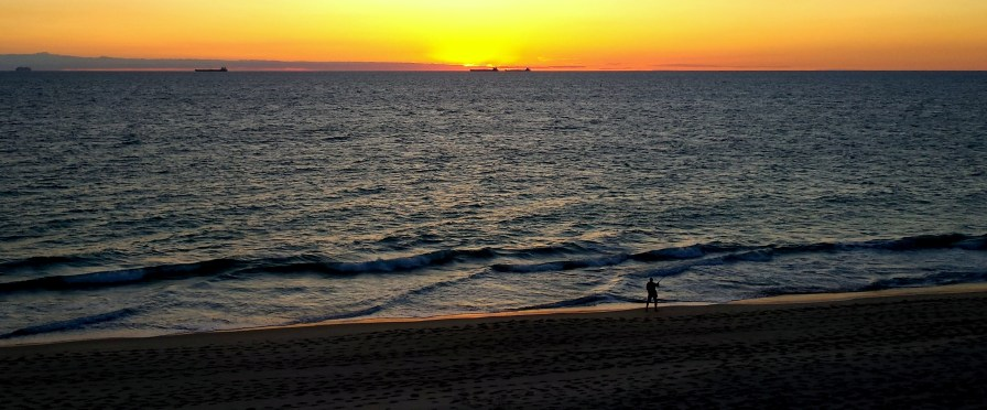 """Freo"" as West Aussies foldly refer to Fremantle has the most beautiful beaches. A late finish to work today and I was luckily driving home when I saw this sunset, the fisherman and the cargo ships on the horizon. Thank you camera phone!"