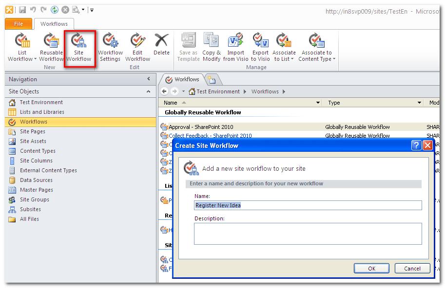 SharePoint 2010, Site Workflow (2/6)