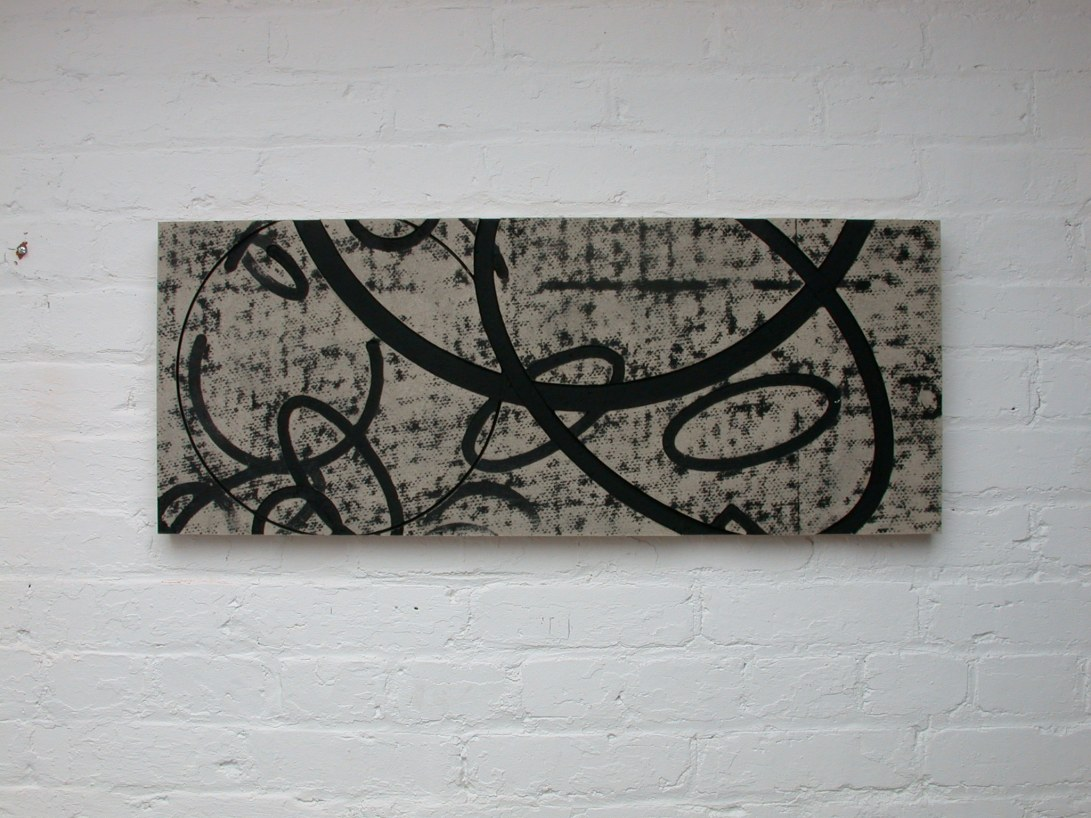 Flatwork 5, Untitled, black ink, enamel & homasote