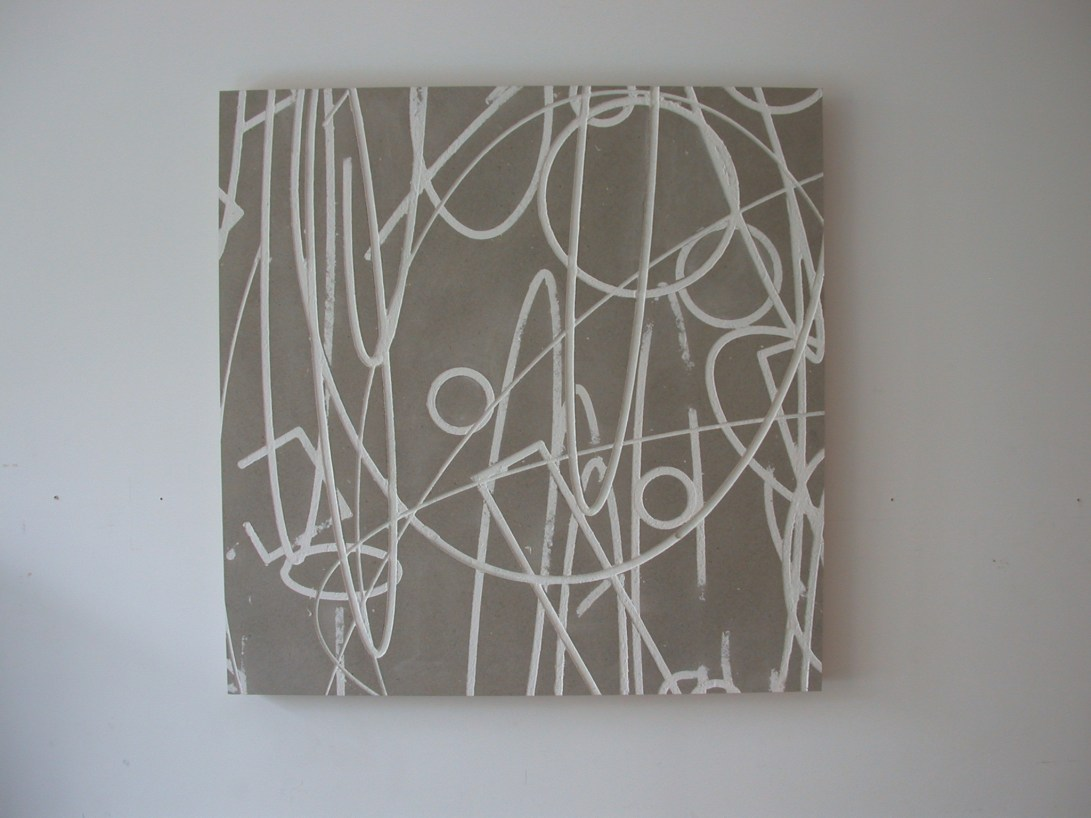 Flatwork 6, Untitled, gesso on homasote