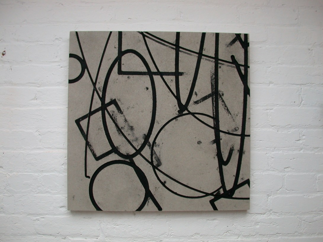 Flatwork 8, Untitled, black ink, enamel & homasote