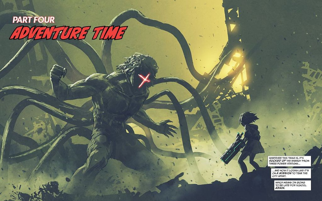 A young girl with a blaster faces off against a tentacled monster