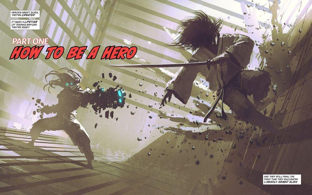 A katana wielding martial artist fights an alien
