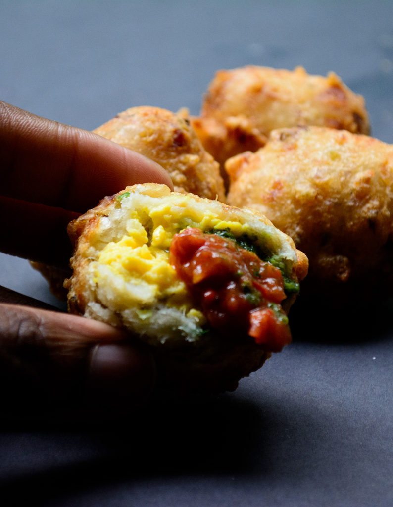 Ackee-stuffed-saltfish-fritters-with-charred-tomato-dip-and-cilantro-sauce