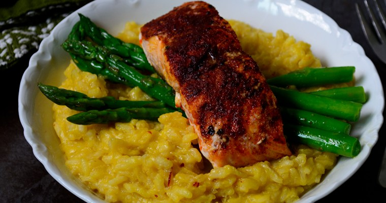 Pan Seared Salmon with Ackee & Saffron Risotto