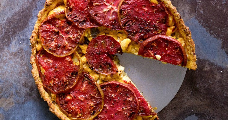 Heirloom Tomato & Ackee Tart in Aged Cheddar & Thyme Crust