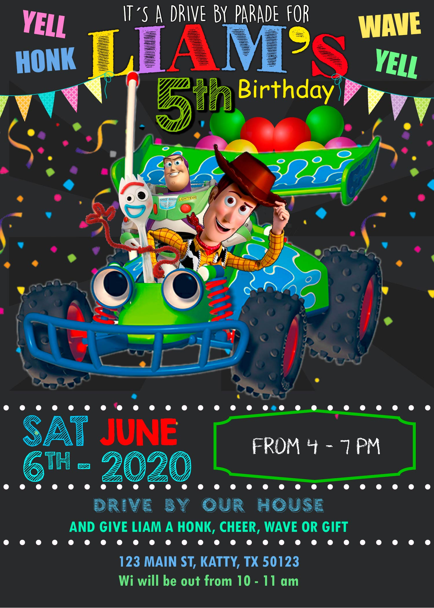 toy story drive by birthday parade