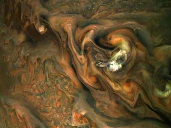 flyby gas giant abundant white clouds Jupiter
