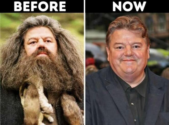 actors from Harry Potter now Rubeus Hagrid played by Robbie Coltrane
