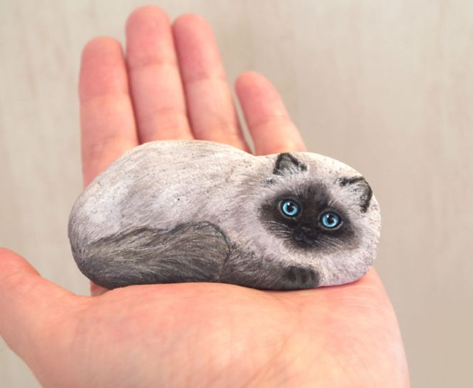 Artist Paints Found Stones That Look Like Real Laying Himalayan Cat And I Hope They Make You Smile