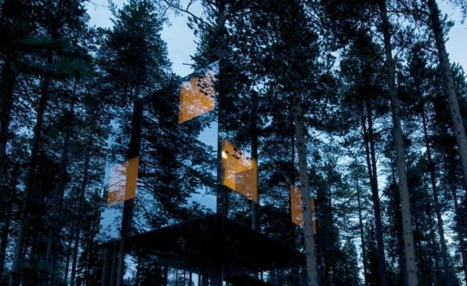 Micro cube hotel lapland sweden blends so well into the landscape