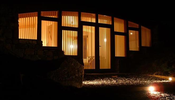 Self catering Hebridean Earth House at night