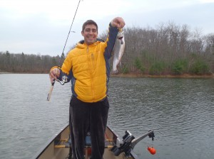 Joel shows off a nice brook trout from Otter Pond #2