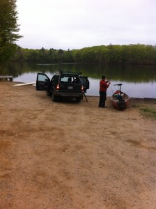 The rough boat launch at Ell Pond