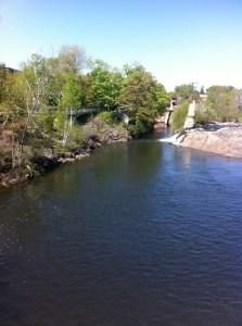 View of the falls on the Presumpscot River from Bridge Street in downtown Westbrook