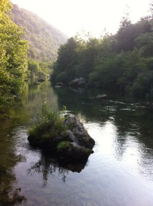 View of La Vis River upstream of Ganges in southern France