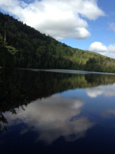 The flank of Pierce Pond Mountain plunges into Dixon Pond