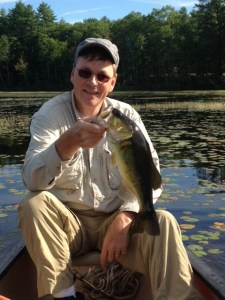 """This 17"""" largemouth bass pounced on a noisy buzz bait"""