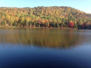 View of High Pond, with Trout Brook Mountain in full fall foliage colors