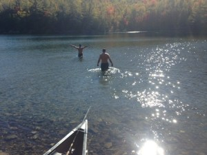 Salvador and Joel taking a very cold dip in Middle Fowler Pond