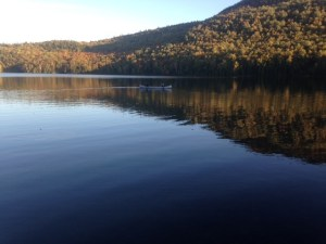 A quiet evening of canoeing and fishing on Long Pond