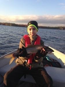 Christian's very first lake trout caught in Sebago Lake!