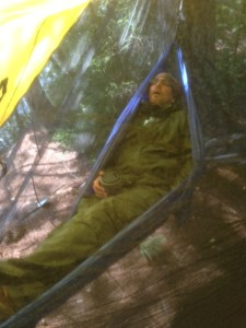 Salvy takes a power nap after pulling an all-nighter in order to make it to Pierce Pond this morning.