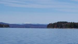 View of the white Mountains from Sebago Lake