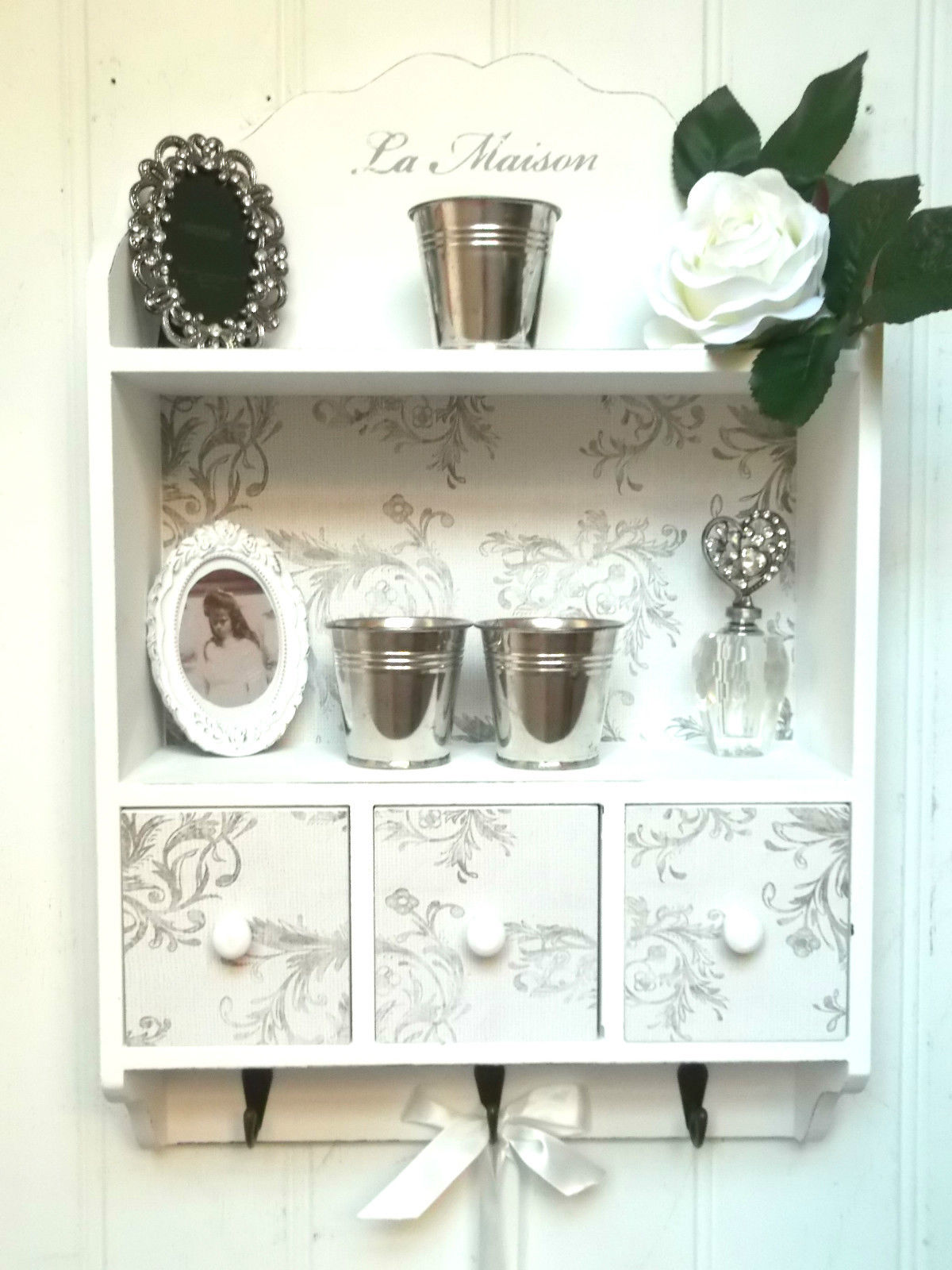 Shabby Chic Wall Unit Shelf Storage Cupboard Cabinet Hooks