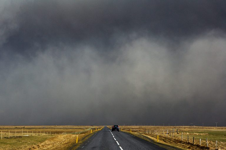 Black wall of ash on south coast of Iceland