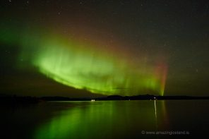 Aurora borealis over lake thingvellir