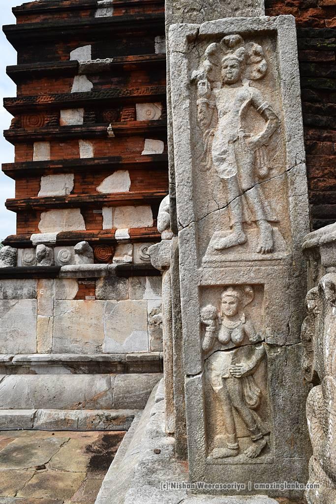 A Naga and Nagini caving on the side of a Wahalkada at Jethawanaramaya Dagoba