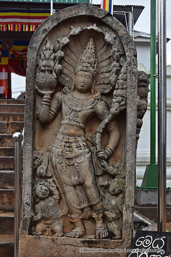 Elegant guardstones adorns the entrance of the Thuparamaya Stupa