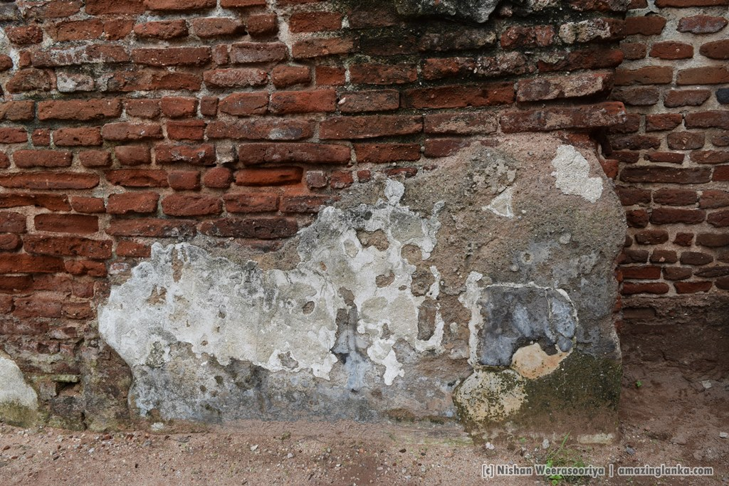 Plaster still existing after thousands of year - at the Palace of king Parakramabahu