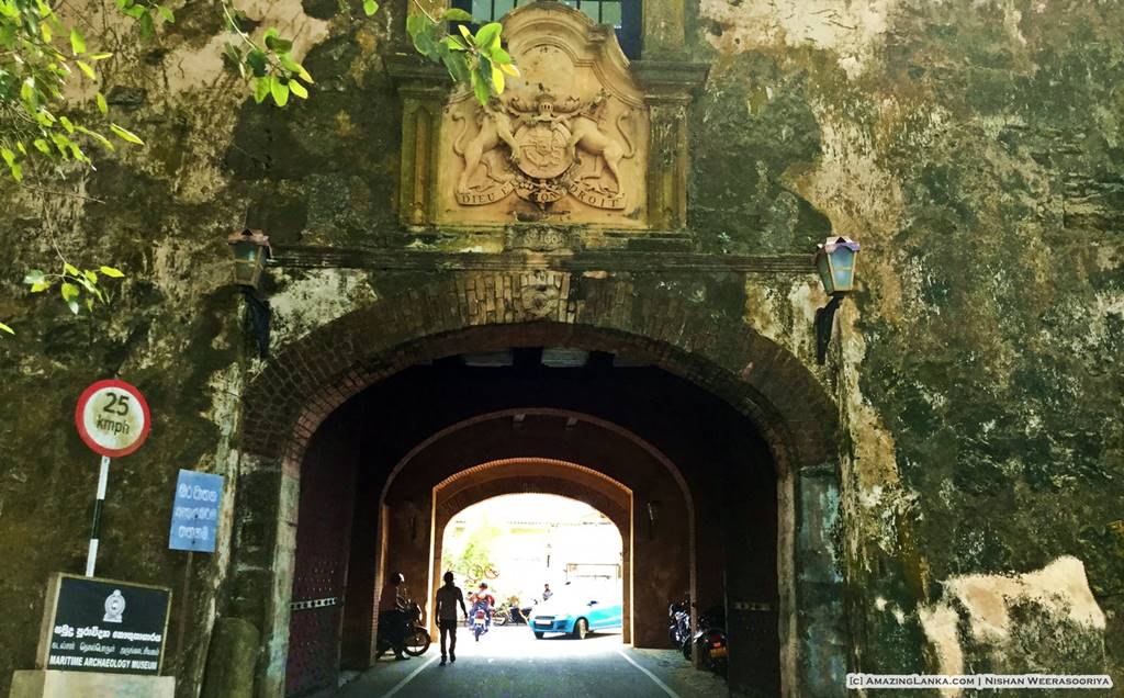 Old entrance of the Galle Fort dated 1668 seen from outside the fort