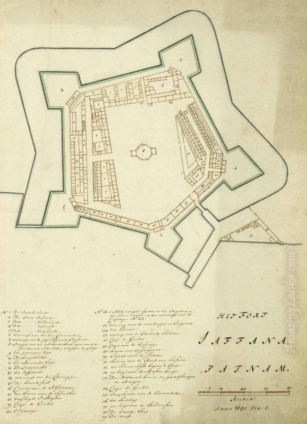 A plan of the Jaffna Fort, Sri Lanka drawn in 1693 - From the national archives of Netherlands