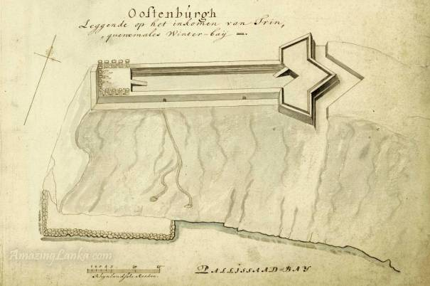 A plan of the Ostenburg Fort in Trincomalee, Sri Lanka drawn in the 17th century - From the National Archives of Netherlands