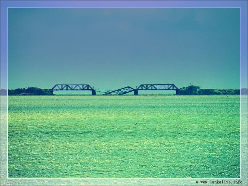 The blown up bridge connecting the Mannar Island with the mainland.