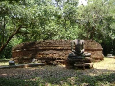 Buddhist Viharaya vandalized by treasure hunters at archaeological site at Parakramapura - Padaviya